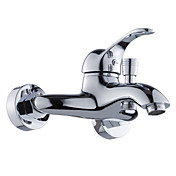 Contemporary Single Handle Wall Mount Shower Faucet-Chrome Finish With Hand Shower