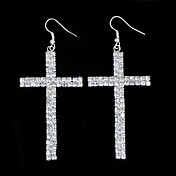 Charming Alloy Cross Design Crystal Drop Earrings