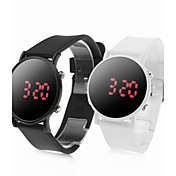 Pair of Sports Style Red LED Jelly Wrist Watches - Black &amp; White