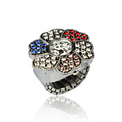Pretty Alloy Flower Design Crystal Ring Watch
