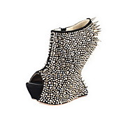 Suede Ankle Boots With Rhinestone / Rivet Party / Evening Shoes