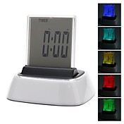 Novelty Colorful Backlight Desktop Digital Alarm Clock Calendar Thermometer Timer (3xAAA)