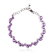 Unique Silver With Purple Crystal Women's Bracelet