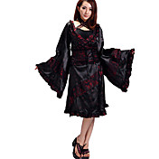 Long-Sleeves Black And Red Ruffles Satin Wa Lolita Kimono(4 Pieces)