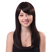 Capless Long Brown Straight 100% Human Hair Wigs