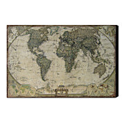 Printed Art Vintage Linen World Map 1212-0149