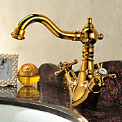 Solid Brass to håndtag Bathroom Sink hane Ti-PVD Finish