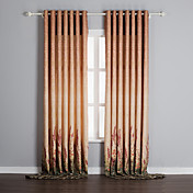 (Two Panels) Champagne Flowers Energy Saving Curtains