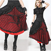 Tea-length Cotton Floral Black and Red Lace Gothic Lolita Skirt(Waist: 66CM-80CM)