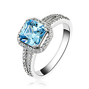 Fabulous 925 Sterling Silver Platinum Plated Birthstone Ring(More Colors)