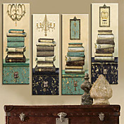 Stretched Canvas Print Vintage Still Life Books Set of 4 1301-0214