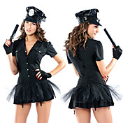 Sexy Cool Black Polyester Police Women Bombshell Costume(3 Pieces)