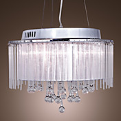 Beautiful Crystal Drop 5-Light Pendant Light with Fabric Lamp