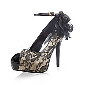 Lace Upper Stiletto Heel Peep Toe With Flowers Wedding/ Party Shoes.More Colors Available