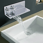 Contemporary Chrome Finish Two Ellipse Handle Waterfall Bathroom Sink Faucet (Double as Shelf)