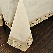 Traditional Linen Beige Floral Table Cloths