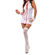 Skinny White Spandex Nurse Uniform(5 Pieces)
