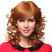Capless Medium Curly blonde 100% Human Hair Pruiken