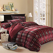 Modern Red Plaid Velvet Full 4-Piece Duvet Cover Set