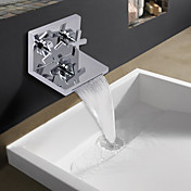 Contemporary Chrome Finish Two Cuboid Handle Waterfall Bathroom Sink Faucet