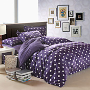 4PCS Modern White Dots Purple Velvet Full Duvet Cover Set