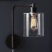 60W Modern Wall Light with Glass Drum Shade