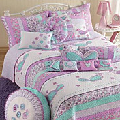 4PCS Bird Pattern Quilted Cotton Full Duvet Cover Set