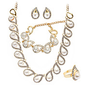 Faux Pearls In CZ Drops Bridal Necklace, Bracelet, Ring And Earring Set