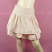 Short Pink Cotton Sweet Lolita Skirt with Lace