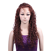"With Stretch On The Crown Loose Curly 22"" Brown Color 100% Indian Remy Full Swiss Lace Wig"
