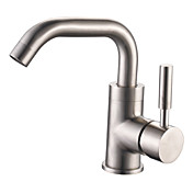Centerset Brushed Finish Contemporary Style Stainless Steel Bathroom Sink Faucets