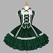 Short Sleeve Knee-length Dark Green Cotton Classic Lolita Dress