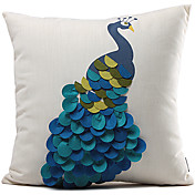 Classic Blue Peacock Polyester Decorative Pillow Cover