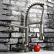 Solid Brass Spring Pull Out Kitchen Faucet - Polished Nickel Finish