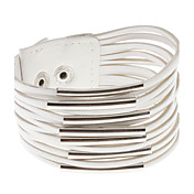Multilayer Leather Metal Ring Wide Bracelet(White)