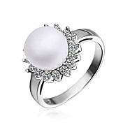 Charming Platinum Plated with Cubic Zirconia Pearl Ring