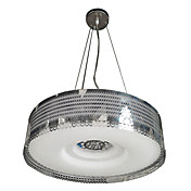 40W Modern Pendant Light with Acrylic Drum Shade in Stainless Steel Decor(T6 Tube)