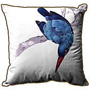 Blue Bird Pattern Print Velet Decorative Pillow Cover