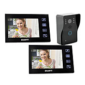 7&quot;Wired Video Door Phone  with SD card Picture Record (1 Camera To 2 Monitor)
