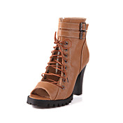 Leatherette Chunky Heel Sandals With Buckle / Lace-up Party / Evening Shoes (More Colors)