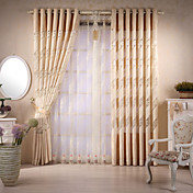 (Two Panels) Traditional Chenille Geometric Sheer Curtains