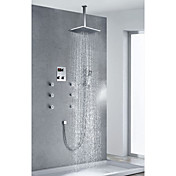 Contemporary Chrome Finish Thermostatic LCD Shower Faucet with 12 inch Square Showerhead + Handshower