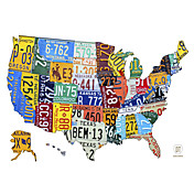 Printed Art Words & Quotes License Plate Map USA by Design Turnpike