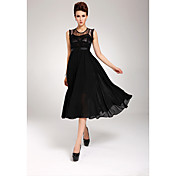 Women's Chiffon Lace Splicing Pleated Midi Dress
