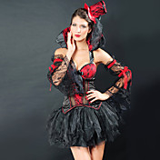Sexy Black and Red Lace Polyester Gothic Princess Costume(4 Pieces)