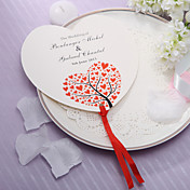 Personalized Heart Shaped Paper Hand Fan - Red Hearts(Set of 12)
