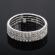 fire lag dame rhinestone tennis armbnd i slv legering