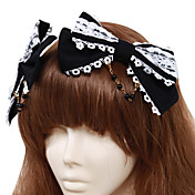 Handmade Black Cotton Whtie Lace Bow Classic Lolita Headband(2 Pieces)