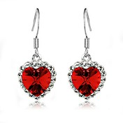 Charming Heart Alloy Crystal Drop Earrings(More Colors)