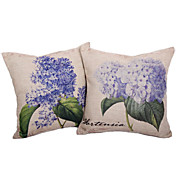 Set of 2 Country Hydrangea Cotton/Linen Decorative Pillow Cover